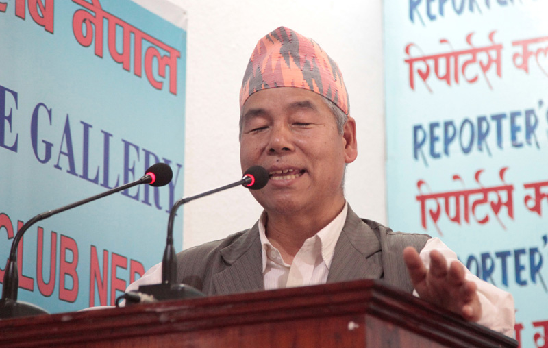 CPN Maoist Centre Headquarters member Dev Gurung speaks with journalists in Kathmandu, on Wednesday, May 25, 2016. Photo: Reporters' Club