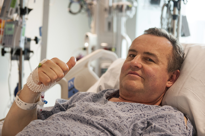 In this May 13, 2016 photo provided by Massachusetts General Hospital, Thomas Manning gives a thumbs up after being asked how he was feeling following the first penis transplant in the United States, in Boston. The organ was transplanted from a deceased donor. Photo: AP