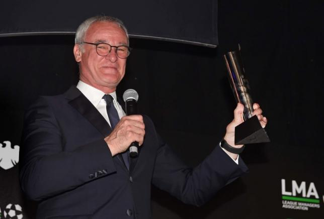 Britain Football Soccer - League Managers Association Annual Awards Dinner - Old Billingsgate, London - 16/5/16nLeicester City manager Claudio Ranieri after receiving the LMA Manager Of The Year 2016 awardnMandatory Credit: Action Images / Alan WalternLivepic
