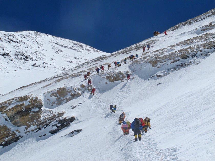 Climbers on the Mt Everest summit. Photo: Mingma Thundu Sherpa