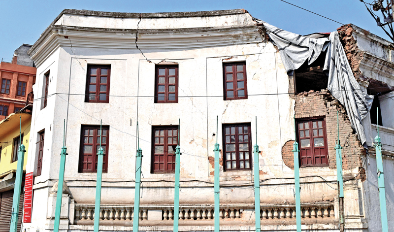 The quake-damaged building of Juddha Fire Brigade Office, nin Kathmandu, on Thursday, May 26, 2016. Photo: THT