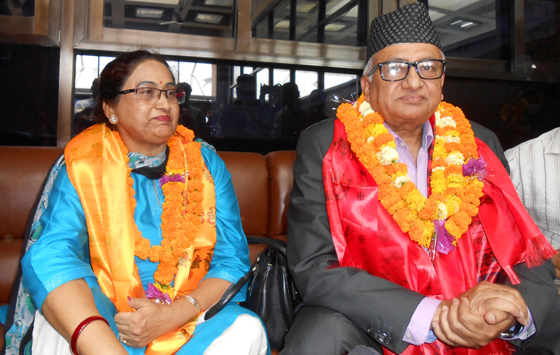 Nepal's former Ambassador to India, Deep Kumar Upadhyay (right) talks to journalists while he returned home, at the Tribhuvan International Airport, in Kathmandu, on Sunday, May 15, 2016. Photo: RSS