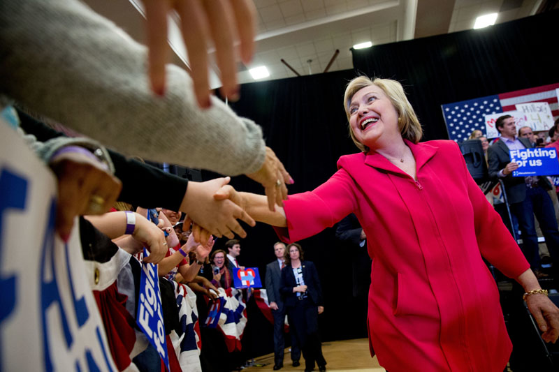 Democratic presidential candidate Hillary Clinton (centre) arrives to speak at a get out the vote event at Transylvania University in Lexington, Kentucky, on Monday, May 16, 2016. Photo: Andrew Harnik/AP