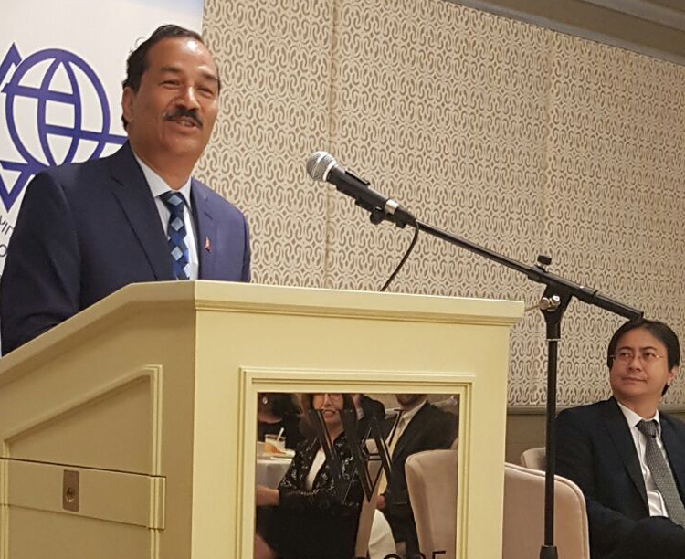 Deputy Prime Minister and Minister for Foreign Affairs Kamal Thapa addresses a talk programme organised by the Israel Council on Foreign Relations in Jerusalem, on Thursday, May 27, 2016. Photo: https://twitter.com/KTnepal