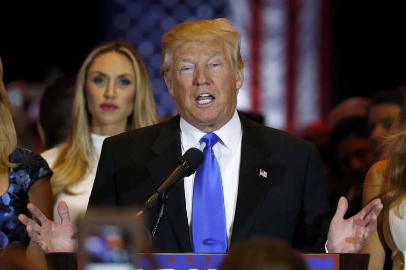 Republican US presidential candidate and businessman Donald Trump speaks to supporters after his rival, Senator Ted Cruz, dropped out of the race following the results of the Indiana state primary, at Trump Tower in Manhattan, New York, on Wednesday, May 3, 2016. Photo: Reuters