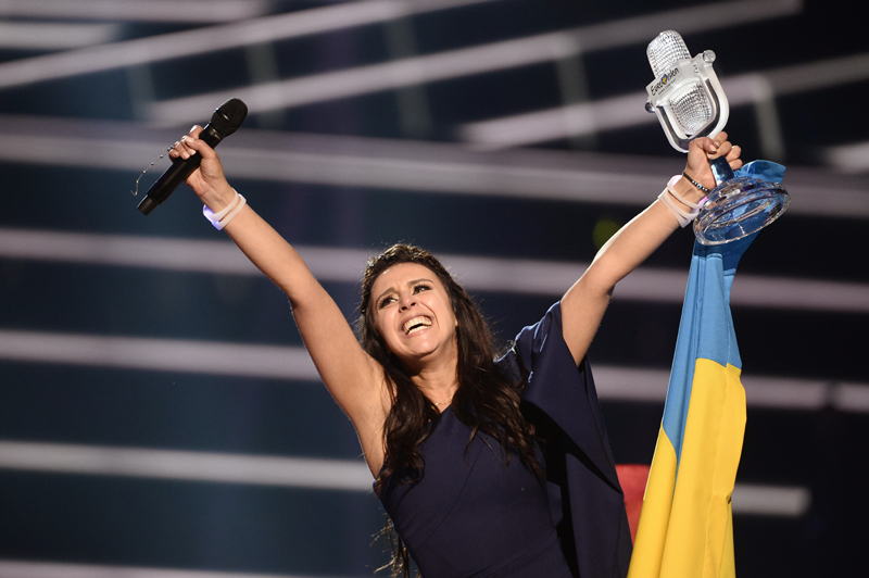 Ukraine's Jamala reacts on winning the 2016 Eurovision Song Contest final at the Ericsson Globe Arena in Stockholm, Sweden, Sunday, May 15, 2016. Photo: AP