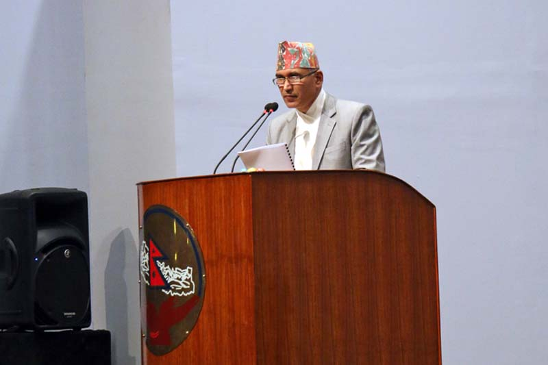 Finance Minister Bishnu Prasad Paudel addresses the Legislature-Parliament meeting about the principle and priorities of the appropriation bill of the fiscal year 2016/17, on Thursday, May 05, 2016. Photo: RSS