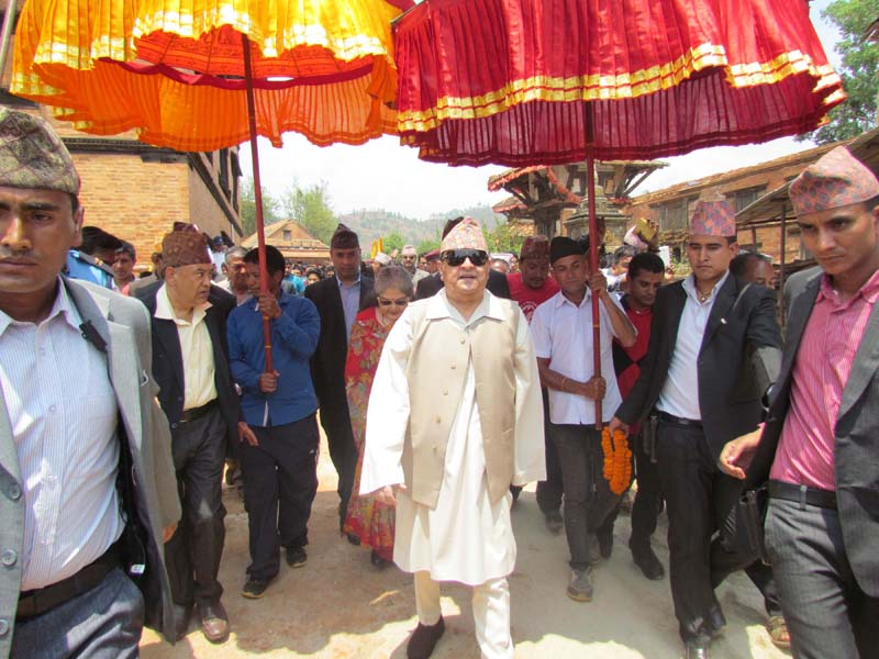 Former King Gyanendra Shah and Queen Komal visit the Bhairavi Temple in Nuwakot district, on Saturday, May 14, 2016. Photo: RSS