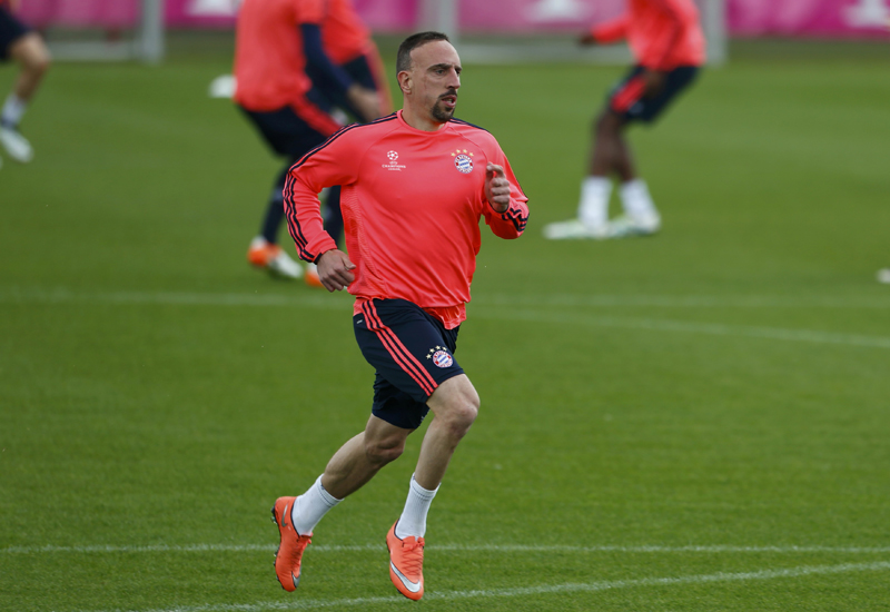 Bayern Munich's Franck Ribery during training for UEFA Champions League semi-final return match against Atletico Madrid at Allianz Arena on Monday, May 2, 2016. Photo: Reuters