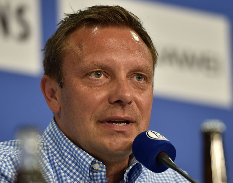 FILE - Then FC Schalke 04's new head coach Andre Breitenreiter smiles during a press conference at the arena in Gelsenkirchen, Germany, on June 15, 2015. Photo: Martin Meissner/AP