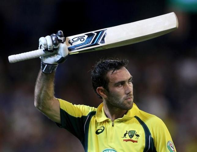 Australia's Glenn Maxwell acknowledges the crowd after being dismissed for 96 against India during their One Day cricket match at the Melbourne Cricket Ground, January 17, 2016. REUTERS/Hamish Blair/Files