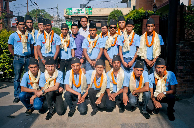 The U-17 team members of Great Himalaya Cricket Academy pose for a group photo at a farewell programme in Kathmandu on Monday, May 16, 2016. The team will leave for Dhaka on Tuesday to play a friendly series with Bangladesh Krira Shikkha Protishtan. Photo: THT