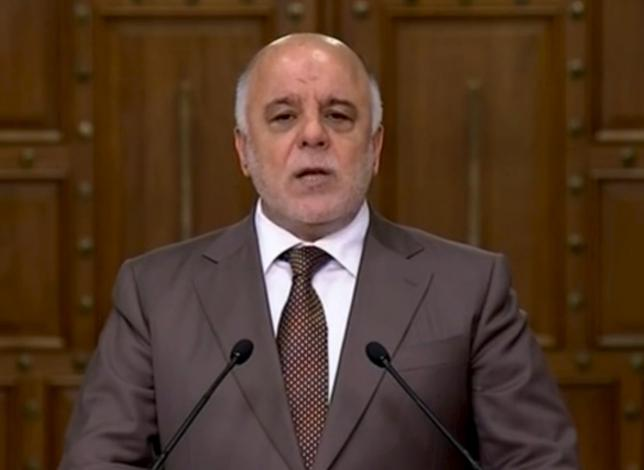 Iraqi Prime Minister Haider al-Abadi speaks during a news conference in Baghdad, Iraq in this still image from video April 15, 2016. REUTERS/Iraqiya TV via Reuters TV