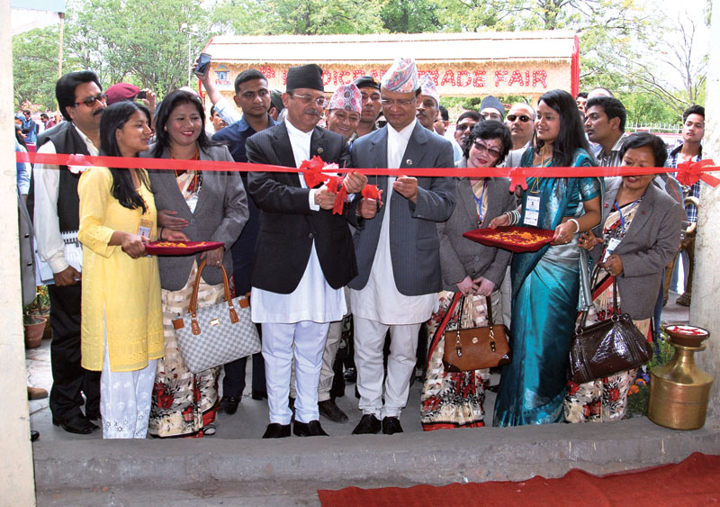 Minister for Industry Som Prasad Pandey (left) and Minister for Commerce Jayanta Chand jointly inaugurating the 13th Handicraft Trade Fair and 11th Craft Competition at Bhrikutimandap, in Kathmandu, on Thursday, May 5, 2016. Photo: Balkrishna Thapa Chhetri/THT