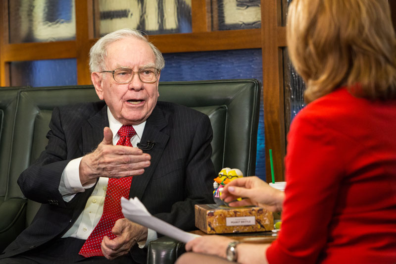 FILE - Berkshire Hathaway Chairman and CEO Warren Buffett speaks during an interview with Liz Claman on the Fox Business Network in Omaha, Nebraska, on Monday, May 2, 2016. Photo: John Peterson/AP