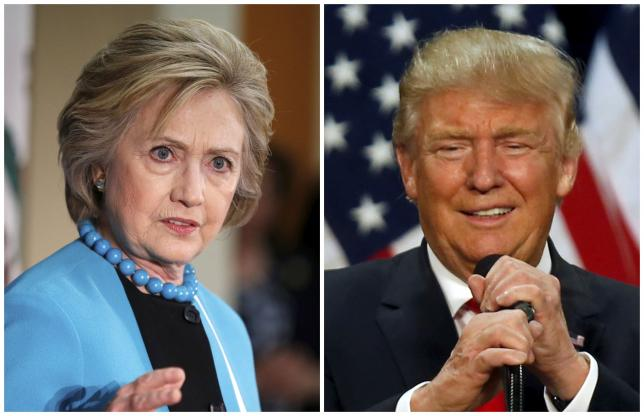 A combination photo shows Democratic presidential candidate Hillary Clinton (L) and Republican presidential candidate Donald Trump (R) in Los Angeles, California on May 5, 2016 and in Eugene, Oregon, U.S. on May 6, 2016 respectively.  REUTERS/Lucy Nicholson (L) and Jim Urquhart/File Photos