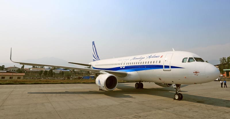 Himalaya Airlines's Airbus 320-214 at the Tribhuvan International Airport.