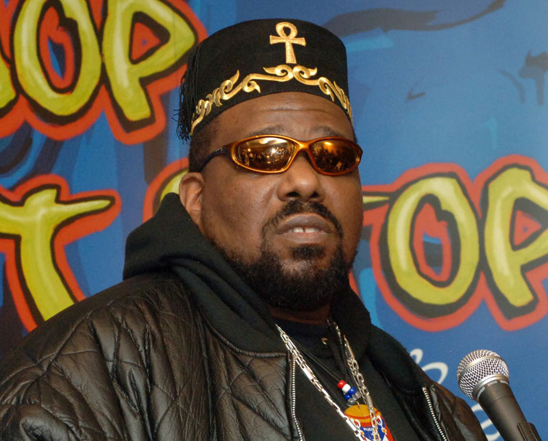 FILE -  Hip hop DJ pioneer Afrika Bambaataa speaking at a news conference in New York, on February 28, 2006.Photo: Henny Ray Abrams/AP
