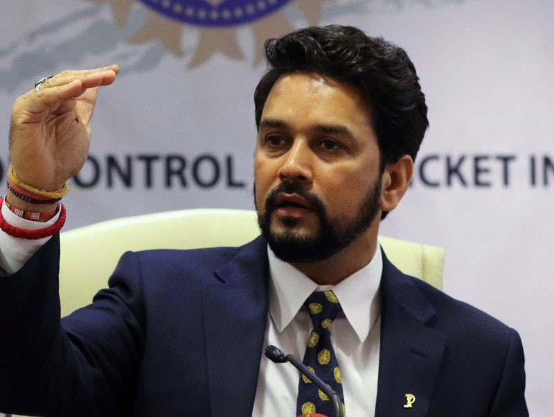 Anurag Thakur, newly-elected president of Board of Control for Cricket in India (BCCI), gestures during a news conference in Mumbai, India, May 22, 2016. Photo: REUTERS