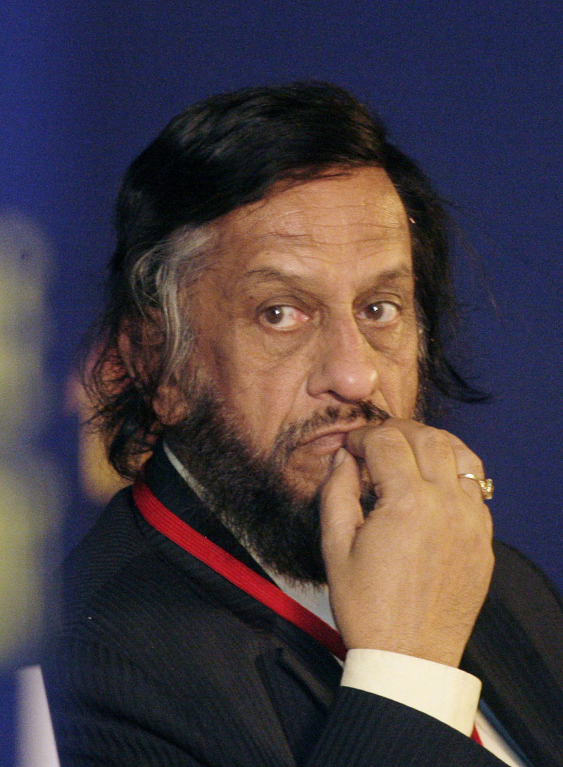 FILE- Intergovernmental Panel on Climate Change Chairman Rajendra Pachauri listens to a speaker at the Delhi Sustainable Development Summit in New Delhi, India, on February 6, 2010. Photo: Gurinder Osan/AP