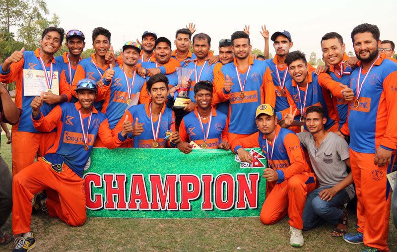 Kalaiya Cricket Club players and officials celebrate after winning the Jagshakti Sansad Cup Twenty20 Cricket Tournament at the Sideshwar grounds in Bara on Monday, May 16, 2016. Photo: THT