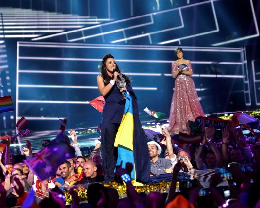 Ukraine's Jamala reacts on winning the Eurovision Song Contest final at the Ericsson Globe Arena in Stockholm, Sweden, May 14, 2016. TT News Agency/Maja Suslin/via REUTERS