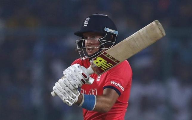 Cricket - England v New Zealand - World Twenty20 cricket tournament semi-final - New Delhi, India - 30/03/2016. England's Joe Root plays a shot.  REUTERS/Adnan Abidi/Files