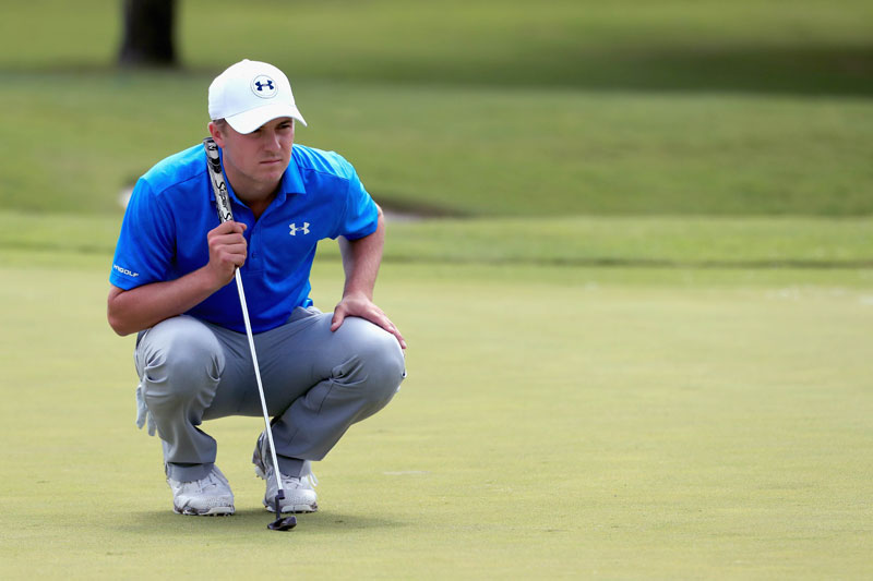 Jordan Spieth of the USA lines up a putt on the third green during the second round of the AT&T Byron Nelson in Irving, Texas on Friday. AFP