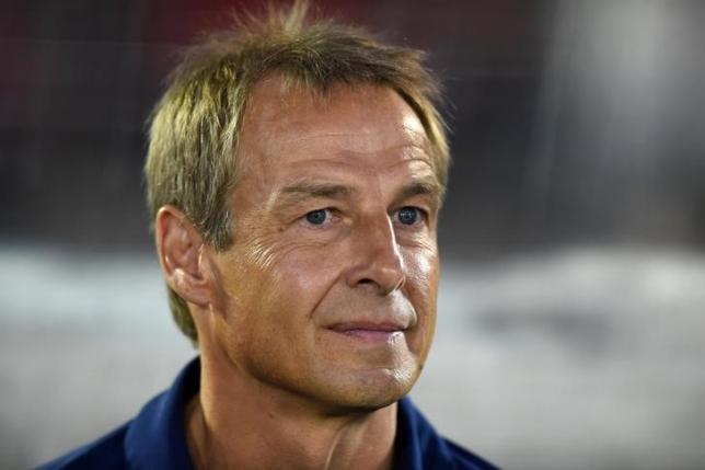 Oct 10, 2015; Pasadena, CA, USA; United States coach Juergen Klinsmann reacts during a 3-2 loss in overtime against Mexico in CONCACAF Cup match at Rose Bowl. Mandatory Credit: Kirby Lee-USA TODAY Sports/Files