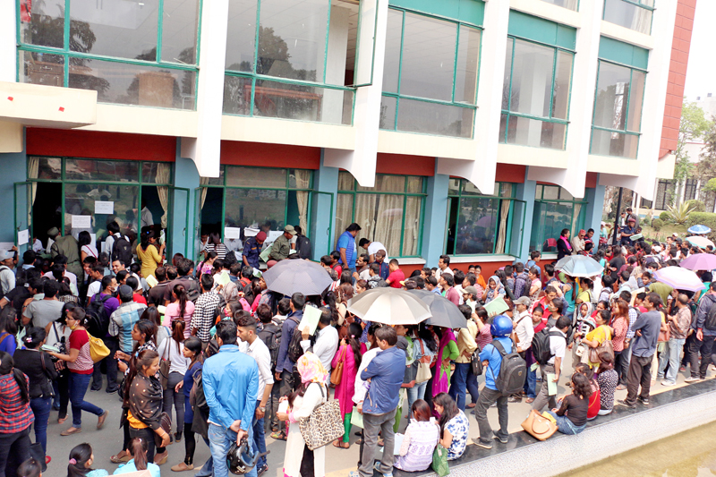 Job aspirants throng the Kathmandu Metropolitan City office to submit their applications, after the KMC called applications for 40 vacant seats of fourth and fifth assistant level posts, in Kathmandu, on Monday, May 2, 2016. Photo: RSS