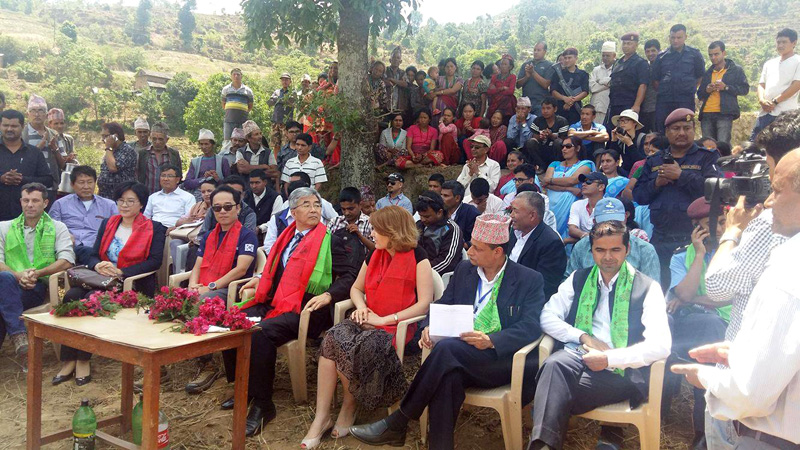 Delegates at a function organised to lay the foundation stone for the Nuwakot Health Reconstruction and Recovery Programme on Wednesday, March 18, 2016. Photo Courtesy: KOICA