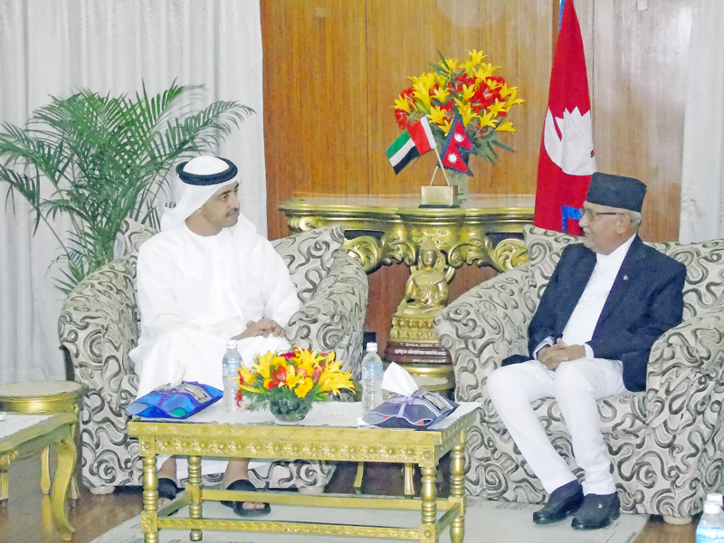 Foreign Minister of United Arab Emirates, Sheikh Abdulla bin Zayed Al Nhaian (left) meets Prime Minister KP Sharma Oli at latter's residence at Baluwatar in Kathmandu, on Tuesday, May 10, 2016. Photo: Chetan Adhikari