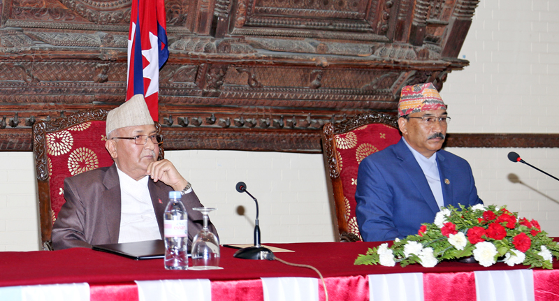 Prime Minister KP Sharma Oli (left) and Deputy Prime Minister and Minister for Foreign Affairs Kamal Thapa addressing diplomats in Kathmandu on Wednesday, May 11, 2016. Photo: RSS