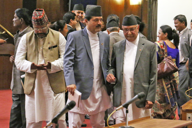 Prime Minister KP Sharma Oli with law minister Agni Kharel and other lawmakers in the nLegislature-Parliament on the first day of the budget session, in Kathmandu, on Tuesday morning, May 3, 2016. Photo: THT
