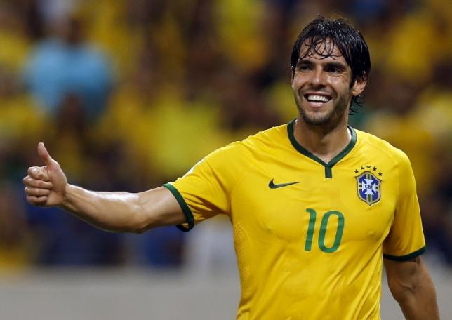 Kaka of Brazil reacts during their 2018 World Cup qualifying soccer match against Venezuela in Fortaleza, Brazil, October 13, 2015.  REUTERS/Paulo Whitaker/Files