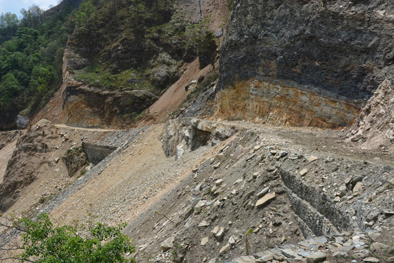 Kaligandaki Corridor, one of Nepal's national pride projects, which connects northern and southern border points of Nepal, being constructed by Nepal Army, in Baglung, on Sunday, May 15, 2016. Photo: RSS