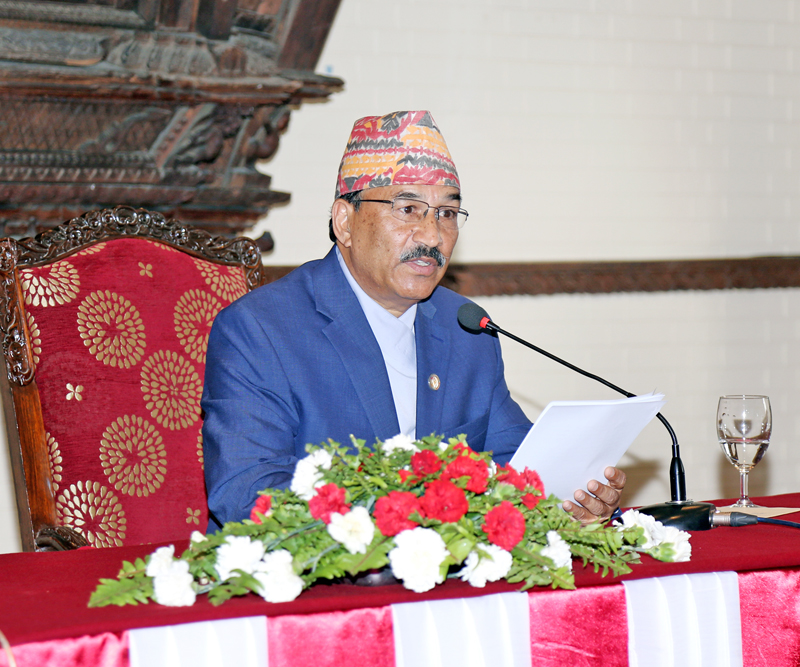FILE: The then Deputy Prime Minister and Minister for Foreign Affairs addressing diplomats in Kathmandu on Wednesday, May 11, 2016. Photo: RSS