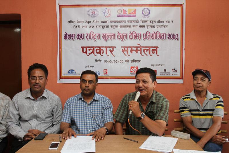 President of Kathmandu District Table Tennis Association Dharma Man Bajracharya speaks during a press meet in Kathmandu on Saturday, may 21, 2016. Photo: THT
