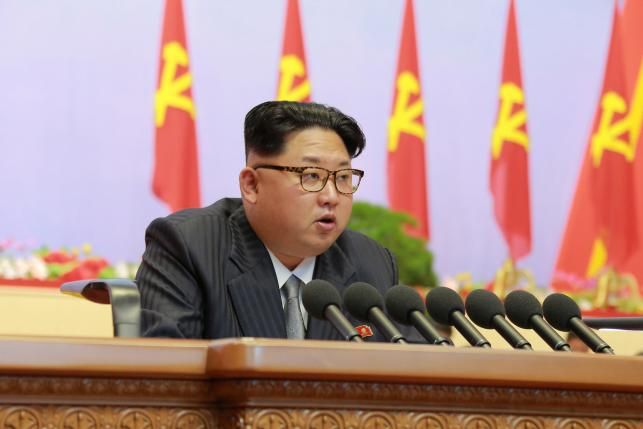 North Korean leader Kim Jong-Un speaks during the first congress of the country's ruling Workers' Party in 36 years, in this photo released by North Korea's Korean Central News Agency (KCNA) in Pyongyang May 6, 2016. KCNA/via Reuters