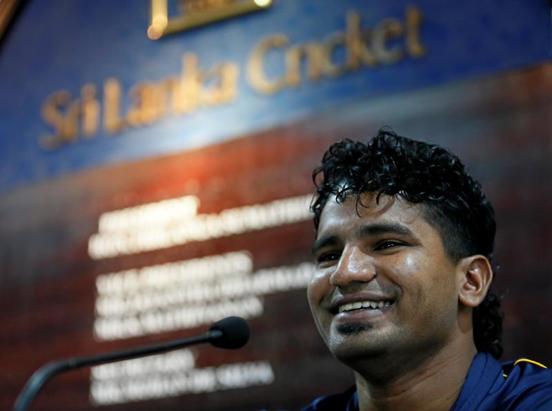 Sri Lanka cricketer Kusal Perera smiles during a news conference in Colombo, Sri Lanka May 12, 2016. Photo: Reuters
