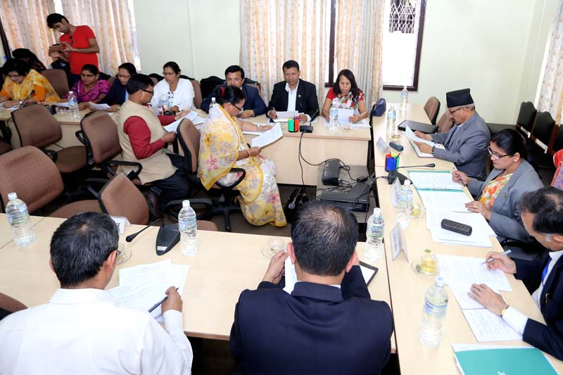 Lawmakers attend a meeting of the Education Sub Committee under the Legislature Parliament's Women, Children, Senior Citizen and Social Welfare Committee, in Kathmandu, on Tuesday, May 24, 2016. Photo: RSS