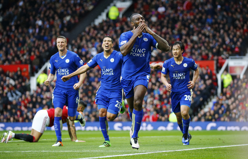 Leicester City's Wes Morgan celebrates scoring their first goaln against Manchester United during Barclays Premier League at Old Trafford on Sunday, May 1, 2016. Photo: Reuters
