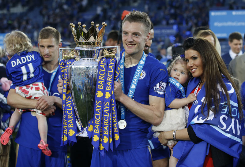 Leicester City's Jamie Vardy holds the trophy as he celebrates after beating Everton in the English Premier League match at the King Power Stadium in Leicester on Saturday, May 7, 2016. Photo:  Reuters/File