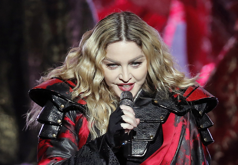 FILE - In this February 20, 2016 file photo, Madonna performs during the Rebel Heart World Tour in Macau. Photo: AP