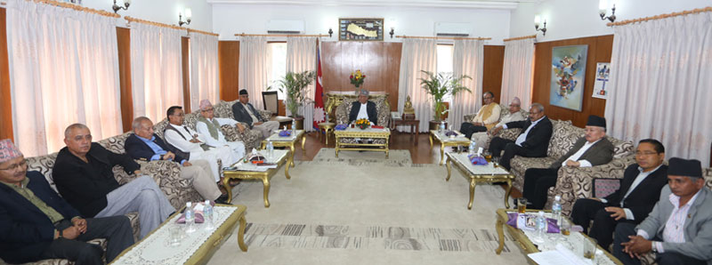 Leaders of major political parties attending a meeting called by Prime Minister KP Sharma Oli at Baluwatar on Saturday, May 14, 2016. Photo: RSS