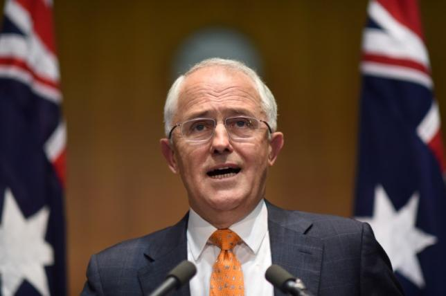 Australian Prime Minister Malcolm Turnbull speaks to the media during a news conference at Parliament House in Canberra, Australia, May 8, 2016 after asking Australia's Governor-General Peter Cosgrove to dissolve both Houses of Parliament to call a double dissolution election for July 2, 2016.  AAP/Lukas Coch/via REUTERS