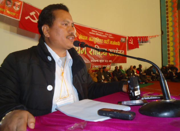 File -This undated image shows Maoist leader and CPN Maoist General Secretary Netra Bikram Chand addressing a programme. Photo: THT