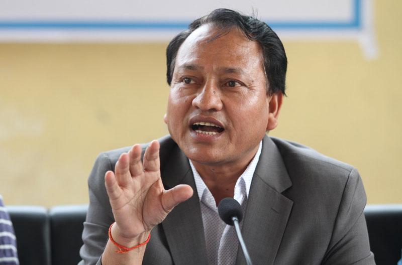 Member Secretary of NSC Keshab Kumar Bista speaks during a press meet in Kathmandu on Monday, May 2, 2016. Photo: THT
