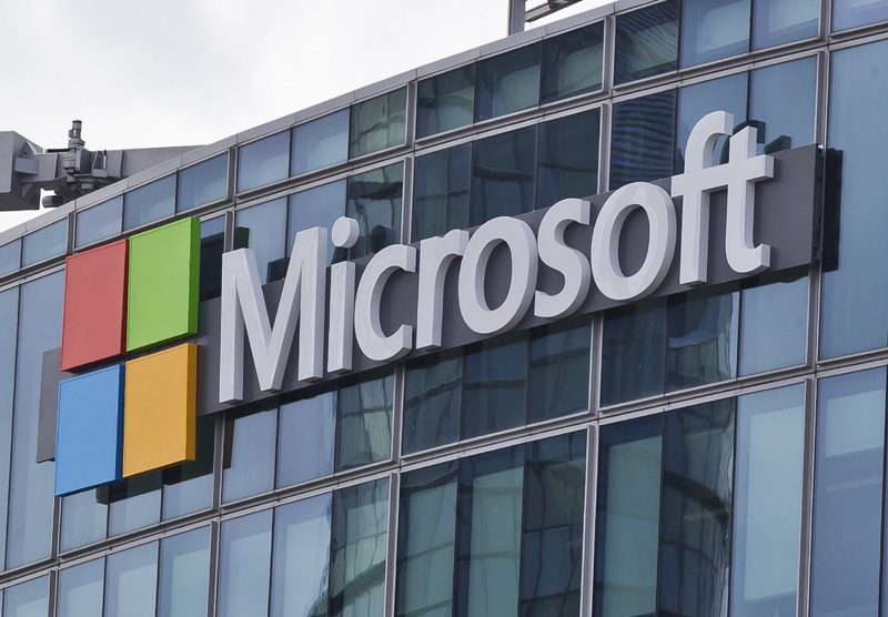 FILE - This Tuesday, April 12, 2016, file photo, shows the Microsoft logo in Issy- les-Moulineaux, outside Paris. Photo: AP