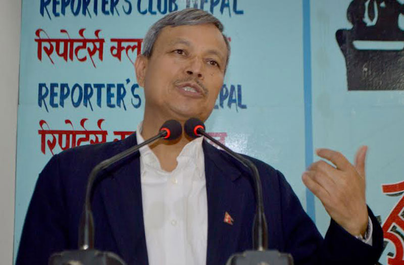Deputy Prime Minister and Minister for Defence Bhim Rawal speaking at an interaction organised at the Reporter's Club in the Capital on Saturday, May 07, 2016. Photo: Reporters' Club